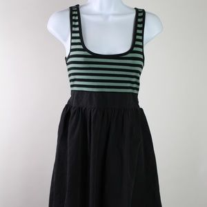 Anthropologie Kimchi Blue dress black green stripe
